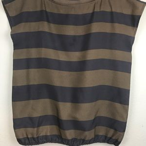 Loft- Gray and brown striped sleeveless blouse